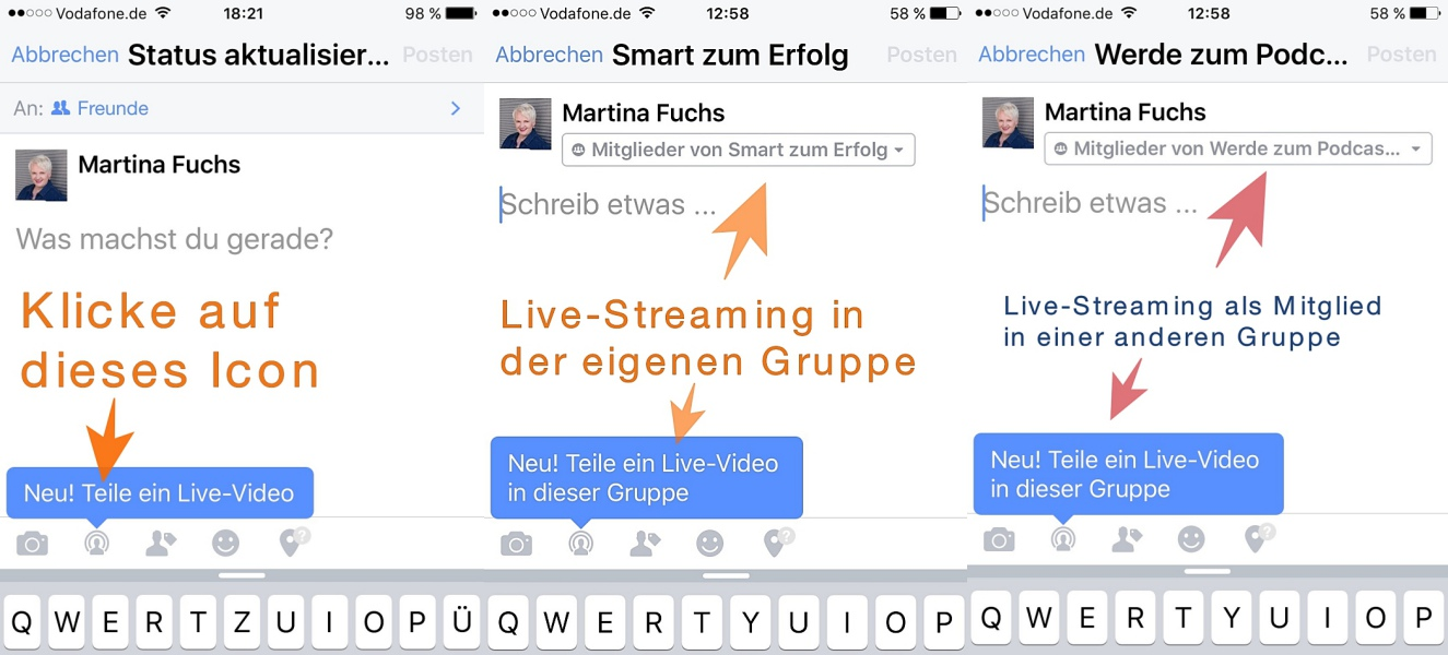 Facebook-Live-Streaming - Schritt 1